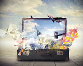 Suitcase full of dreams — Stock Photo
