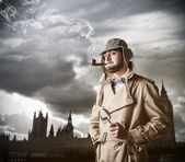 Man feeling Sherlock Holmes — Stock Photo