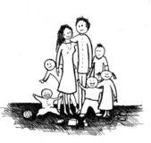 Drawn happy family — Stock Photo
