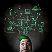 Man with green hair — Stock Photo