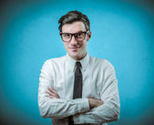 Young handsome businessman smiling — Stock Photo