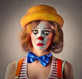 Clown with a sad expression — Stock Photo