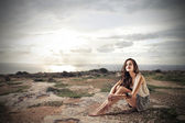 Young woman in the mountain — Stock Photo