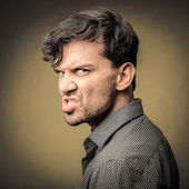 Angry grumpy man — Stock Photo