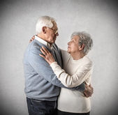 Old man and woman looking at each other — Stock Photo