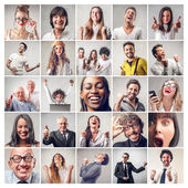 Exulting men and women — Stock Photo