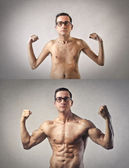 Same man with different bodies — Stock Photo