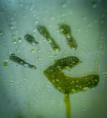 Steamy Handprint — Stock Photo