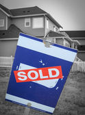 New Build Sold Sign — Foto Stock