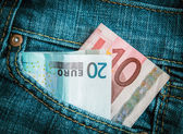 Jeans Pocket Money — Stock Photo