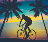 Retro Style Palms And Cyclist — Stock Photo