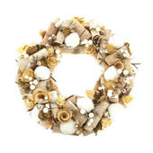 Modern christmas wreath with decorations isolated on white backg — ストック写真