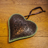 Rustic Heart on wooden floor — Stok fotoğraf