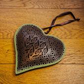 Rustic Heart on wooden floor — Φωτογραφία Αρχείου