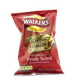 Packet of ready salted crisps on a white background — Stock Photo