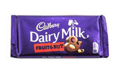 Bar of Cadburys Dairy Milk Fruit and Nut chocolate — Stock Photo