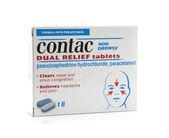 Paquete de pastillas doble alivio contac sobre un fondo whiite — Foto de Stock