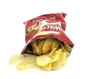 Packet of Walkers ready salted crisps on a white background — Stock Photo
