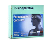 Box of 500mg Paracetamol Capsules on a white background — Stock Photo