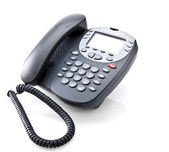 Gray office telephone isolated on a white background  — Stock Photo