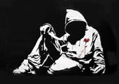 Banksy Hoodie with Knife Graffiti — Stock Photo