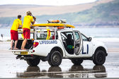 Lifeguards on duty at Poleath Beach — Stock Photo