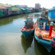 Stock Photo: Fishing boats inCambodivillage