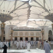 Stock Photo: Big umbrellaround Nabawi Mosque, Medina. Hajj season 2013 (1434h).