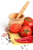 Ingredients for tomatoe sause and spagetti — Стоковое фото