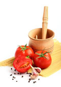 Ingredients for tomatoe sause and spagetti — Zdjęcie stockowe