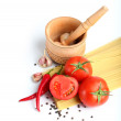 Ingredients for tomato sauce and spaghetti — Stock Photo