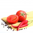 Stock Photo: Ingredients for tomatoe sause and spagetti