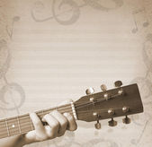 Musical background with guitar — Photo