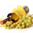 White wine bottle, leaves and grapes - Stock Photo