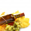 Wine bottle, autumn leaves and grapes on white - Stockfoto