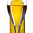 White wine in bottle on white - Stockfoto