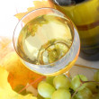 White wine in a glass with grapes and bottle - Stock Photo