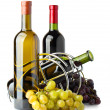 Red and white wine bottle in support - Stockfoto
