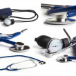 Blue stethoscope on white background collage — 图库照片