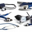 Blue stethoscope on white background collage - Stockfoto