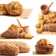 Different types of bread and cookies collage — Stockfoto