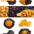Golden and dark raisin collage with wooden spoon - Stockfoto