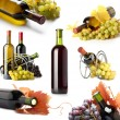 Grapes and wine bottles collage - Stockfoto