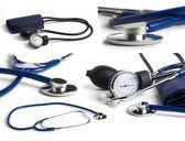 Blue stethoscope on white background collage — Stock Photo