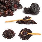 Dark raisin collage with wooden spoon — Stock Photo