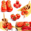 Tomatoes, peppers, spaghetti and spices collage — Foto Stock