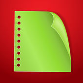 Green blank note page on red new year background — Stockvector