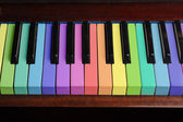 Rainbow piano background — Stock fotografie