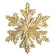 Golden decorative snowflake on white background — Foto Stock