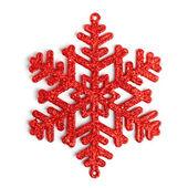 Red decorative snowflake on white background — Stock Photo